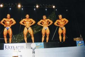 Erster Wettkampf in der Männerklasse III 1998, Achim ganz rechts mit einem Wettkampfgewicht von ca. 83 kg